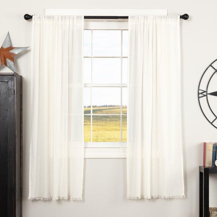 Devid Fringed Solid Sheer Rod Pocket Curtain Panels Pertaining To Hayden Rod Pocket Blackout Panels (Image 5 of 25)