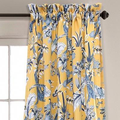 "Dolores Room Darkening Window Curtain Set Yellow (84""x52 Pertaining To Dolores Room Darkening Floral Curtain Panel Pairs (Image 6 of 25)"