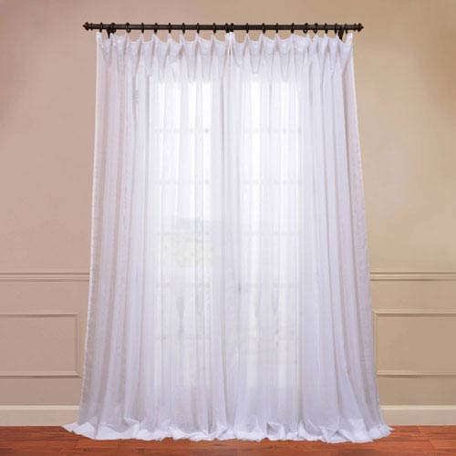 Doublewide Solid White 100 X 96 Inch Sheer Curtain For Double Layer Sheer White Single Curtain Panels (Image 13 of 25)
