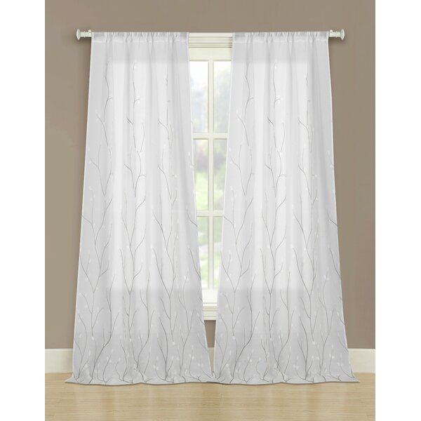Embroidered Curtains | Wayfair Intended For Wavy Leaves Embroidered Sheer Extra Wide Grommet Curtain Panels (View 4 of 25)