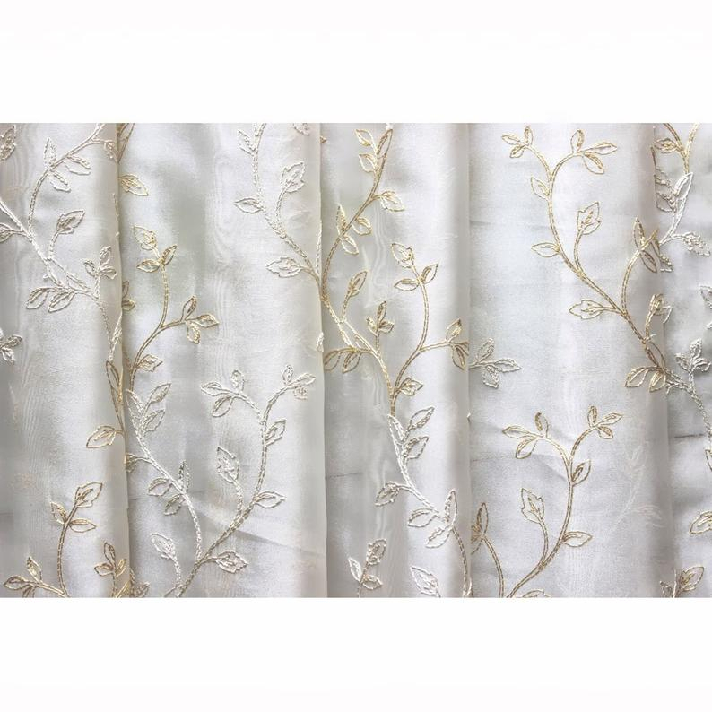 Embroidered Sheer Curtain Fabric | Flisol Home Inside Wavy Leaves Embroidered Sheer Extra Wide Grommet Curtain Panels (View 23 of 25)