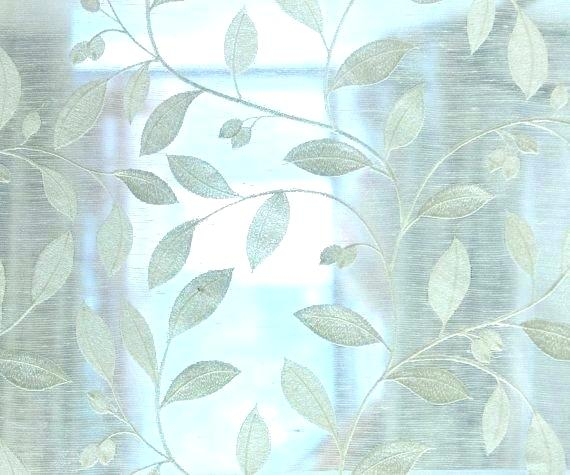 Embroidered Sheer Fabric Curtain Panels Off White Leaves Pertaining To Wavy Leaves Embroidered Sheer Extra Wide Grommet Curtain Panels (View 12 of 25)