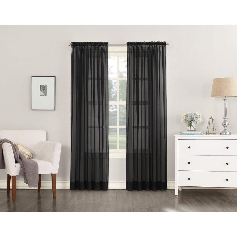 Emily Solid Color Sheer Rod Pocket Window Single Curtain Panel Pertaining To Emily Sheer Voile Single Curtain Panels (View 22 of 25)