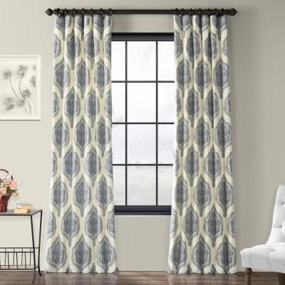 Exclusive Fabrics & Furnishings Fresh Popcorn And Polo Navy In Vertical Colorblock Panama Curtains (Image 11 of 25)