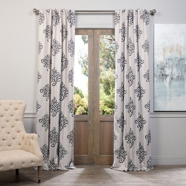 Exclusive Fabrics Tugra Printed Blackout Pole Pocket Curtain Pertaining To Wilshire Burnout Grommet Top Curtain Panel Pairs (Image 7 of 25)