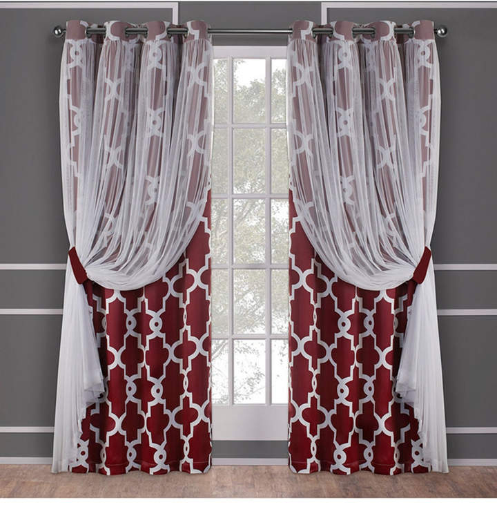 Exclusive Home Alegra Layered Geometric Blackout And Sheer Grommet Top  Curtain Panel Pair With Regard To Wilshire Burnout Grommet Top Curtain Panel Pairs (Image 8 of 25)