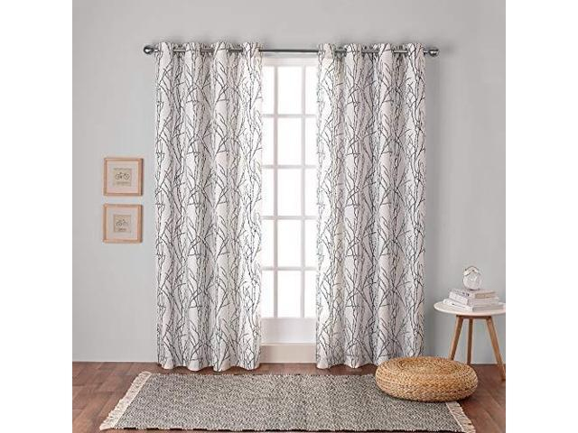 Exclusive Home Curtains Branches Linen Blend Window Curtain Panel Pair With  Grommet Top, 54X108, Black Pearl, 2 Piece – Newegg Regarding Velvet Heavyweight Grommet Top Curtain Panel Pairs (Image 5 of 25)