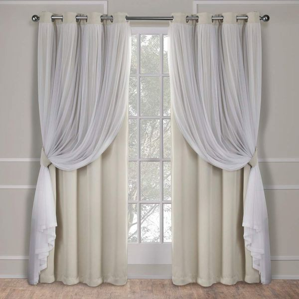 Exclusive Home Curtains Catarina Layered Solid Blackout And Sheer Window  Curtain Panel Pair With Grommet Top, 52X96, Sand, 2 Piece Regarding Woven Blackout Grommet Top Curtain Panel Pairs (Image 10 of 25)