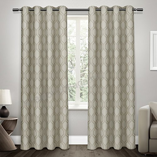 Exclusive Home Curtains Domino Jacquard Grommet Top Window For Kochi Linen Blend Window Grommet Top Curtain Panel Pairs (View 22 of 25)