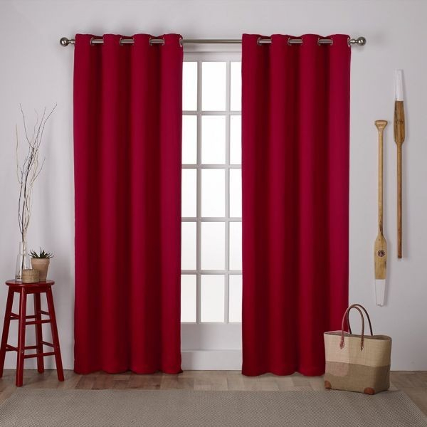 Exclusive Home Curtains Exclusive Home Sateen Twill Weave Blackout Window  Curtain Panel Pair With Grommet Top 52X108 Chili 2 Piece Price In Saudi Intended For Woven Blackout Curtain Panel Pairs With Grommet Top (Image 10 of 25)