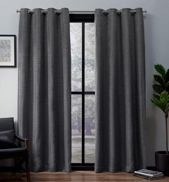 Exclusive Home Curtains Leeds Textured Slub Woven Blackout Intended For Woven Blackout Curtain Panel Pairs With Grommet Top (Image 11 of 25)