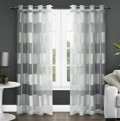 Exclusive Home Curtains Navarro Burnout Sheer Grommet Top Window Curtain  Panel 642472008810 | Ebay With Regard To Wilshire Burnout Grommet Top Curtain Panel Pairs (Image 10 of 25)