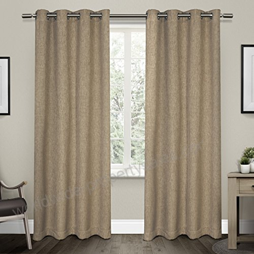Exclusive Home Curtains Vesta Textured Linen Woven Blackout Within Woven Blackout Curtain Panel Pairs With Grommet Top (Image 13 of 25)