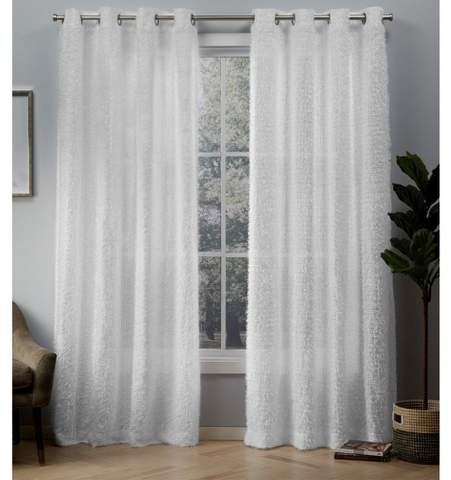 Exclusive Home Eyelash Grommet Top Window Curtain Panel Pair White In Velvet Heavyweight Grommet Top Curtain Panel Pairs (Image 10 of 25)
