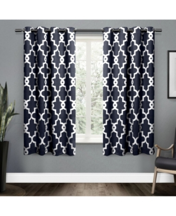 Exclusive Home Ironwork Sateen Woven Blackout Grommet Top Within Woven Blackout Grommet Top Curtain Panel Pairs (Image 13 of 25)