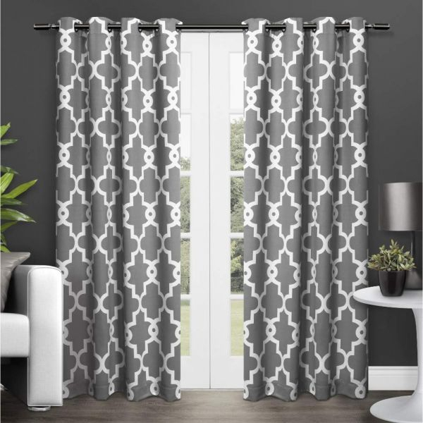 Exclusive Home Ironwork Sateen Woven Blackout Window Curtain Panel Pair  With Grommet Top 52X84 Black Pearl 2 Piece Intended For Woven Blackout Curtain Panel Pairs With Grommet Top (Image 15 of 25)
