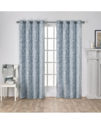 Exclusive Home Lamont Jacquard Grommet Top Curtain Panel With Wilshire Burnout Grommet Top Curtain Panel Pairs (Image 12 of 25)