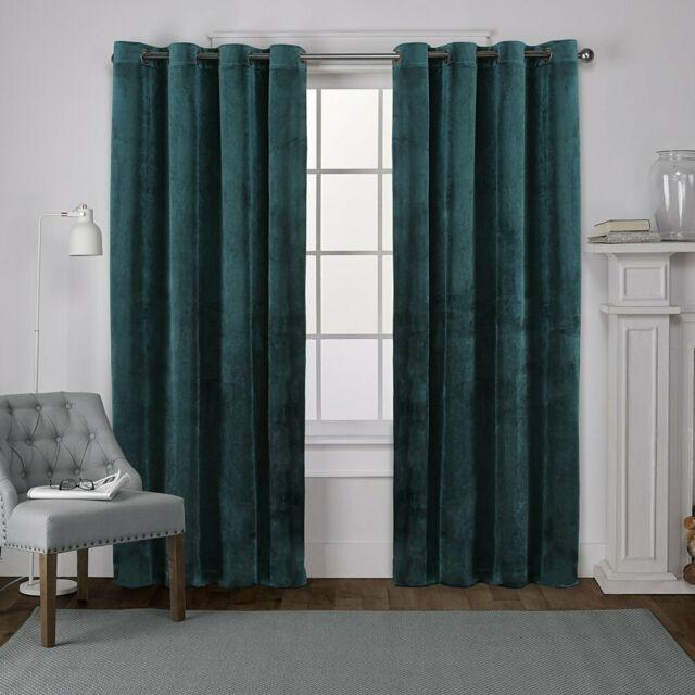 Exclusive Home Velvet Heavyweight Grommet Top Curtain Panel Pair, Teal,  54X84 In Kochi Linen Blend Window Grommet Top Curtain Panel Pairs (Image 13 of 25)