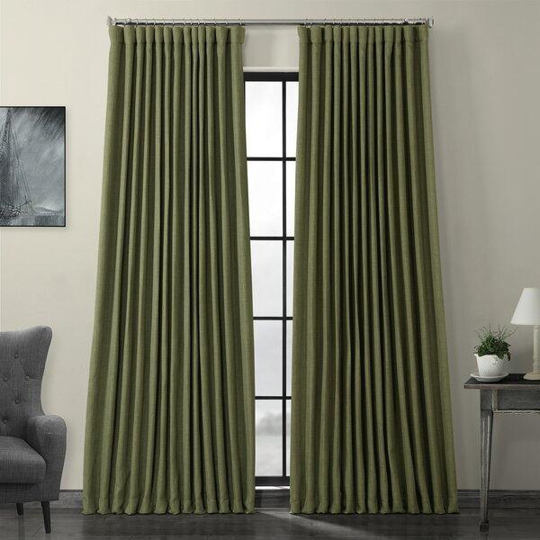 Extra Wide Width Curtains | Wayfair With Regard To Julia Striped Room Darkening Window Curtain Panel Pairs (Image 8 of 25)