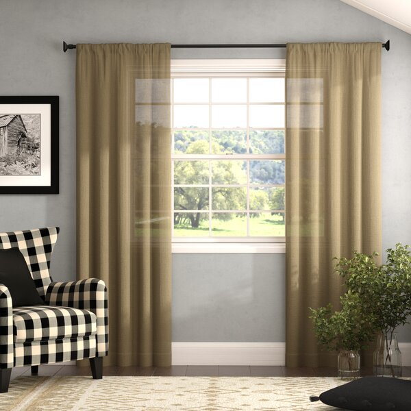 Farmhouse Burlap Curtains | Wayfair Inside Jacob Tab Top Single Curtain Panels (Image 6 of 25)