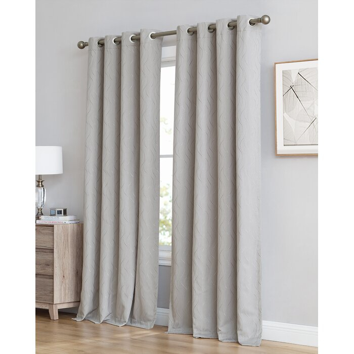 Farnham Damask Abstract Max Blackout Thermal Grommet Single Curtain Panel With Regard To Abstract Blackout Curtain Panel Pairs (Image 13 of 25)