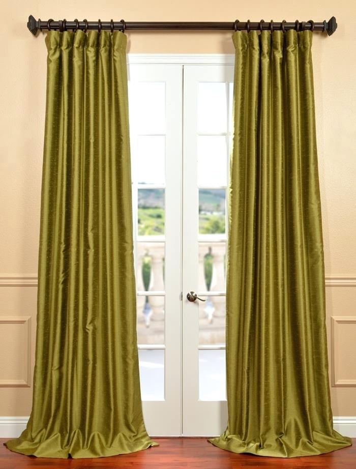 Faux Dupioni Silk Curtains Buy Chartreuse Yarn Dyed Faux Throughout Vintage Textured Faux Dupioni Silk Curtain Panels (Image 13 of 25)