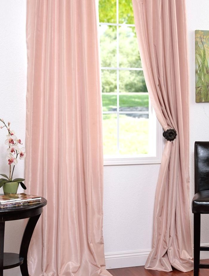 Faux Dupioni Silk Curtains Textured Faux Silk Curtain Panel With Regard To Vintage Textured Faux Dupioni Silk Curtain Panels (Image 15 of 25)