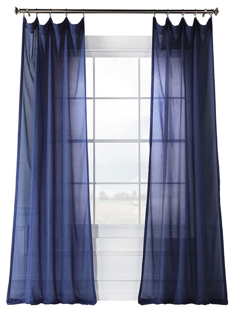 """Fauxlinen Sheer Curtain Single Panel, Blue Lapis, 50""""x84"""" With Vertical Colorblock Panama Curtains (Image 15 of 25)"""