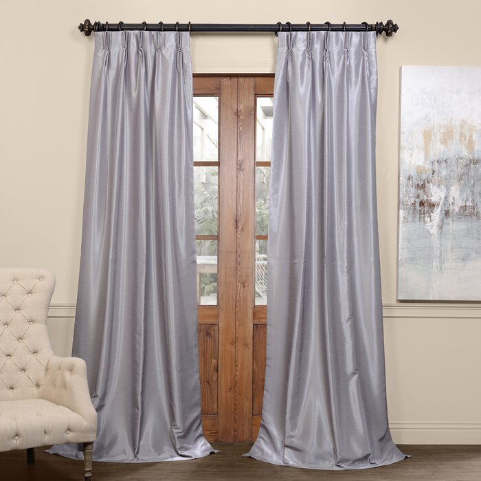 Forbell Solid Blackout Vintage Textured Faux Dupioni Thermal Pinch Pleat  Single Curtain Panel With Regard To Vintage Textured Faux Dupioni Silk Curtain Panels (Image 17 of 25)