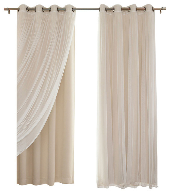"""Gathered Tulle Sheer And Blackout 4 Piece Curtain Set, Beige, 84"""" In Velvet Dream Silver Curtain Panel Pairs (Image 7 of 25)"""