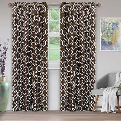 Geometric 100% Thermal Blackout Grommet Window Curtain Panel Pertaining To Overseas Faux Silk Blackout Curtain Panel Pairs (View 17 of 25)