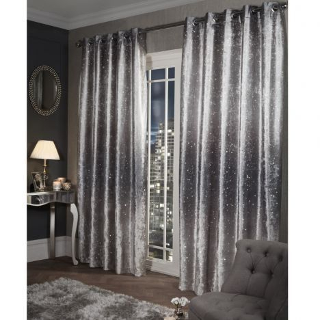 Glitter Crushed Velvet Fully Lined Ring Top Curtains Inside Velvet Dream Silver Curtain Panel Pairs (Image 8 of 25)