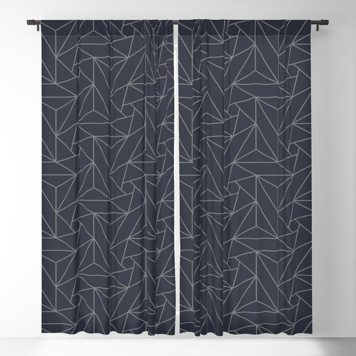 Gray & Dark Blue Abstract Triangle Geometric Mosaic Shape Pattern Pairs To  2020 Color Of The Year Blackout Curtainpipafineart Regarding Abstract Blackout Curtain Panel Pairs (Image 14 of 25)