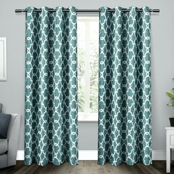 Green Trellis Curtain Panels – Frogfreaks Within Woven Blackout Grommet Top Curtain Panel Pairs (Image 14 of 25)