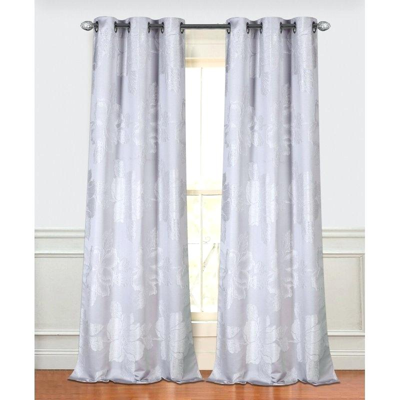 Grommet Sheer Panels Park Floral Semi Sheer Grommet Curtain Pertaining To Wavy Leaves Embroidered Sheer Extra Wide Grommet Curtain Panels (View 14 of 25)