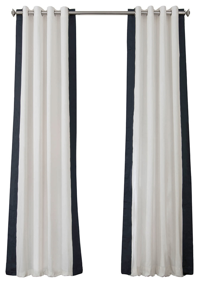 """Grommet Vertical Colorblock Curtain Single Panel, Popcorn And Navy, 50""""x84"""" Intended For Vertical Colorblock Panama Curtains (Image 16 of 25)"""