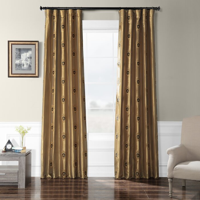 Grovetown Faux Silk Taffeta Damask Room Darkening Rod Pocket Single Curtain Panel For Overseas Faux Silk Blackout Curtain Panel Pairs (View 2 of 25)