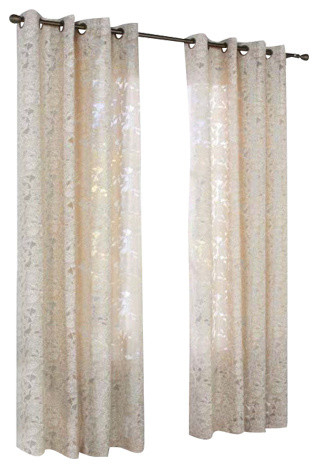 Habitat Charlotte A Floral Burnout Grommet Top Window Panel Taupe Intended For Wilshire Burnout Grommet Top Curtain Panel Pairs (Image 13 of 25)