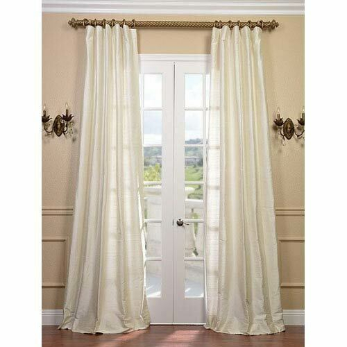 Half Price Drapes Pearl Textured Dupioni Silk Single Panel Curtain, 50 X 120 In Vintage Textured Faux Dupioni Silk Curtain Panels (Image 20 of 25)