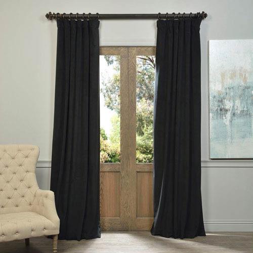 Half Price Drapes Signature Warm Black Blackout Velvet Pole Pocket Single  Panel Curtain, 50 X 84 Intended For Warm Black Velvet Single Blackout Curtain Panels (Image 8 of 25)