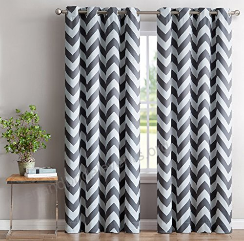 Hlc Chevron Print Thermal Insulated Blackout Window With Thermal Insulated Blackout Grommet Top Curtain Panel Pairs (View 12 of 25)