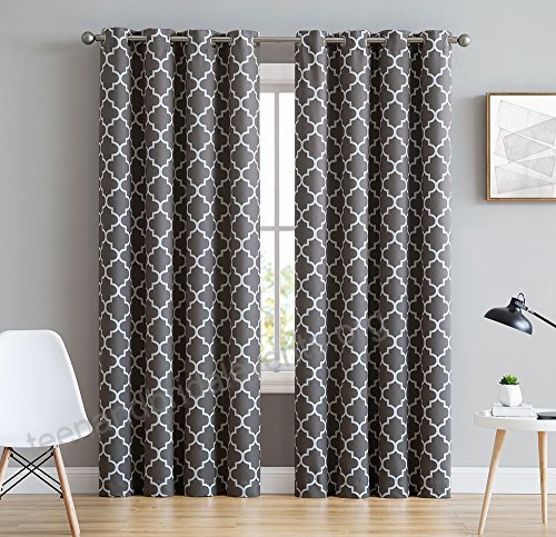 Hlc Lattice Print Thermal Insulated Blackout Window Pertaining To Thermal Insulated Blackout Grommet Top Curtain Panel Pairs (View 8 of 25)