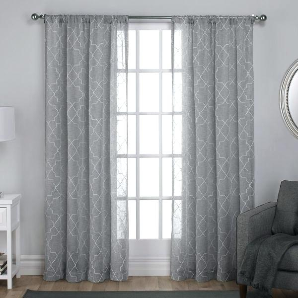 Home Curtains Exclusive Home Sheer Window Curtain Panel Pair With Regard To Velvet Heavyweight Grommet Top Curtain Panel Pairs (Image 12 of 25)