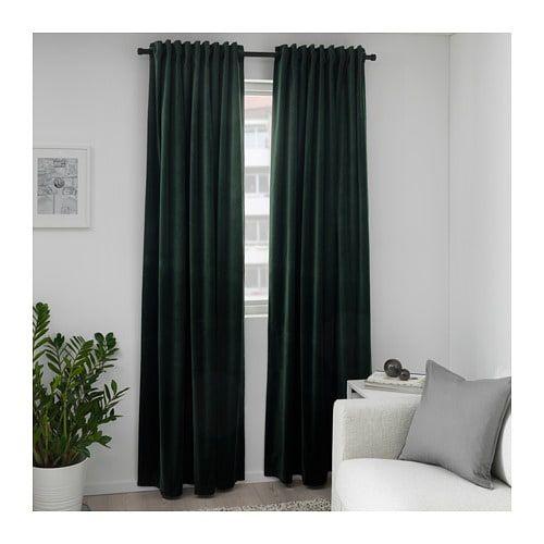 Ikea Sanela Dark Green Room Darkening Curtains, 1 Pair In Throughout Warm Black Velvet Single Blackout Curtain Panels (Image 9 of 25)