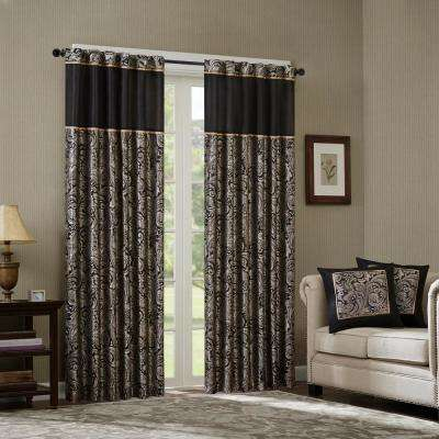 Jacquard – Black – Curtains & Drapes – Window Treatments Throughout Whitman Curtain Panel Pairs (Image 8 of 25)
