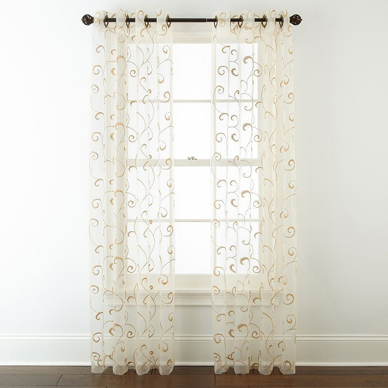Jcpenney Home Plaza Embroidered Sheer Grommet Top Curtain With Regard To Wavy Leaves Embroidered Sheer Extra Wide Grommet Curtain Panels (View 5 of 25)