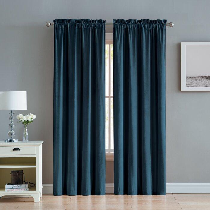 Judsonia Velvet Solid Room Darkening Rod Pocket Curtain Panels Pertaining To Velvet Solid Room Darkening Window Curtain Panel Sets (Image 9 of 25)