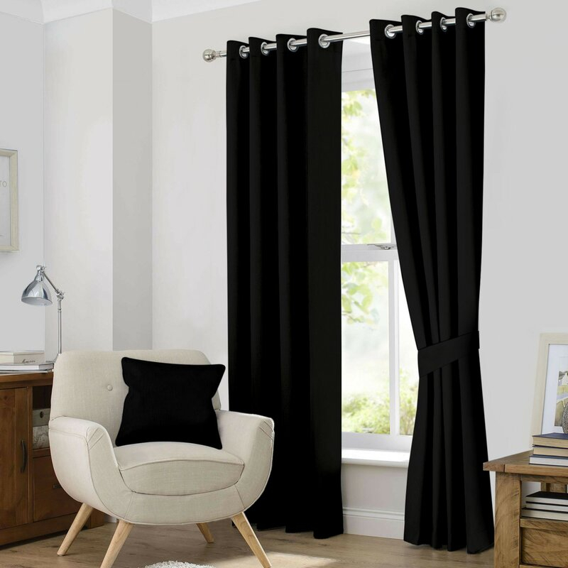 Kaylee Solid Blackout Thermal Grommet Curtain Panels In Classic Hotel Quality Water Resistant Fabric Curtains Set With Tiebacks (View 19 of 25)