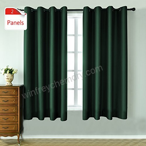 Keqiaosuocai 2 Panels Green Blackout Curtains 63 Inches Long Inside Overseas Faux Silk Blackout Curtain Panel Pairs (View 21 of 25)