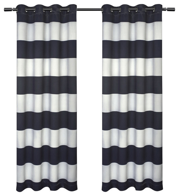 """Kids Rugby Stripe Sateen Darkening Grommet Curtain Panel Pair, Navy, 54"""" X 84"""" With Sateen Twill Weave Insulated Blackout Window Curtain Panel Pairs (View 15 of 25)"""